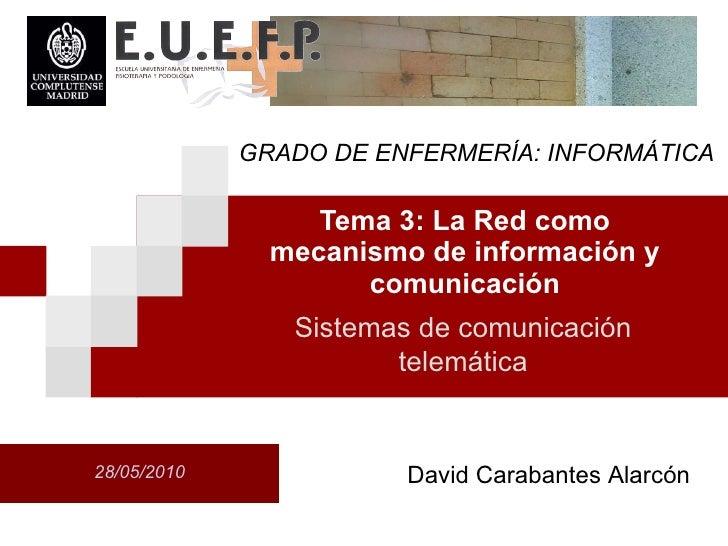 Tema 3: La Red como mecanismo de informaci ón  y comunicaci ón Sistemas de comunicaci ón  telem át i ca David Carabantes A...