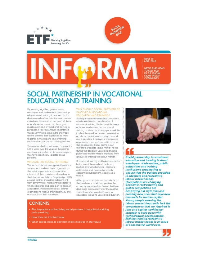 Inform 15: Social Partnership in Vocational Education and Training