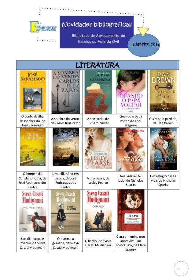 LITERATURA  O conto da ilha desconhecida, de José Saramago  A sombra do vento, de Carlos Ruiz Zafón  A sentinela, de Richa...