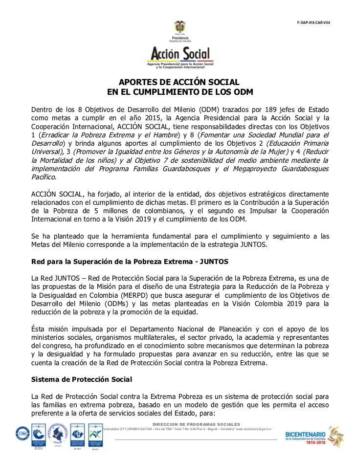 ACCIÓN SOCIAL: APORTES DE ACCIÓN SOCIAL  EN EL CUMPLIMIENTO DE LOS OBJETIVOS DEL DESARROLLO DEL MILENIO
