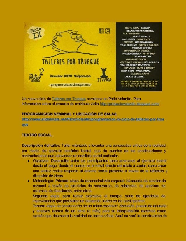 INFORMACIÓN DE LOS TALLERES DEL IX CICLO TPT