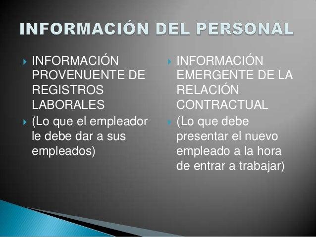 INFORMACIÓN PROVENUENTE DE REGISTROS LABORALES  (Lo que el empleador le debe dar a sus empleados)  INFORMACIÓN EMERGEN...