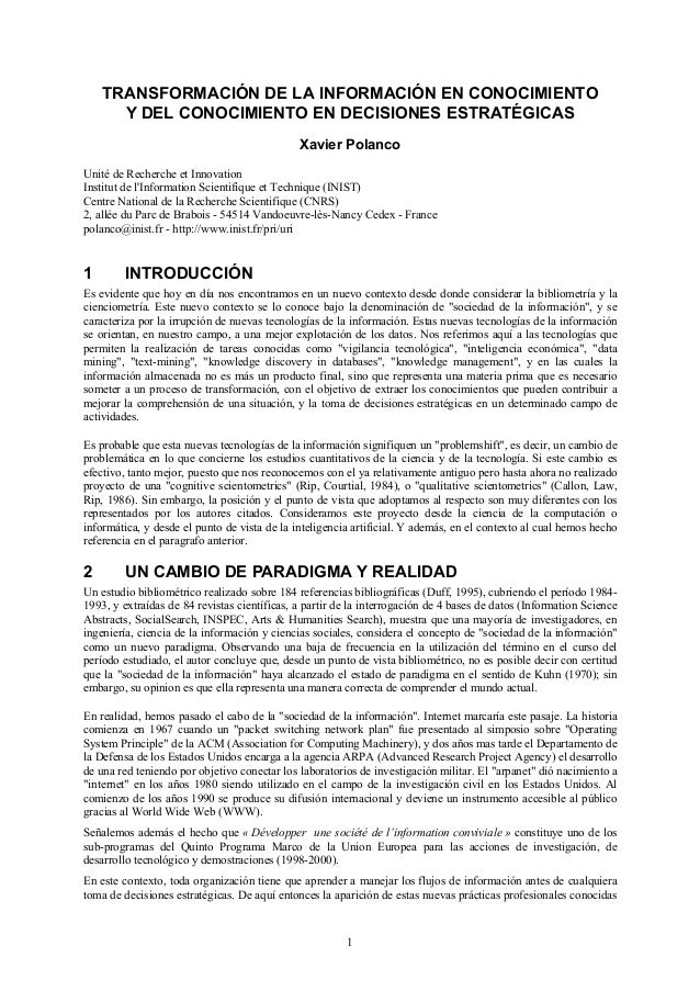 TRANSFORMACIÓN DE LA INFORMACIÓN EN CONOCIMIENTO      Y DEL CONOCIMIENTO EN DECISIONES ESTRATÉGICAS                       ...