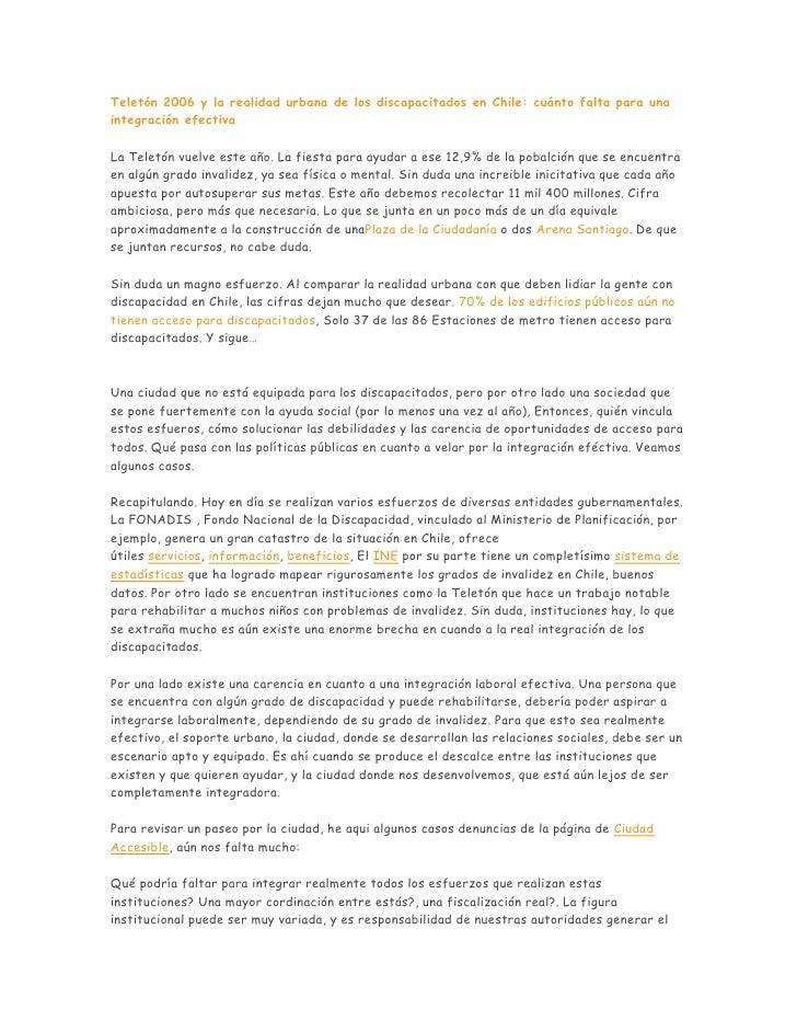 Teletón 2006 y la realidad urbana de los discapacitados en Chile: cuánto falta para una integración efectiva  La Teletón v...
