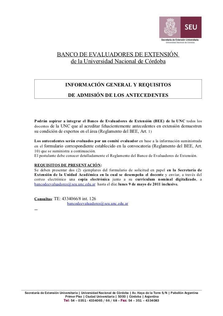 BANCO DE EVALUADORES DE EXTENSIÓN                         de la Universidad Nacional de Córdoba                           ...