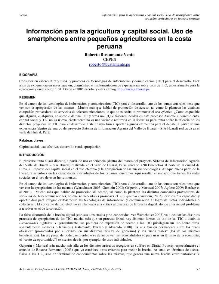 Información para la agricultura y capital social uso de smartphones entre pequeños agricultores en la costa peruana -Roberto Bustamante Vento (2011)