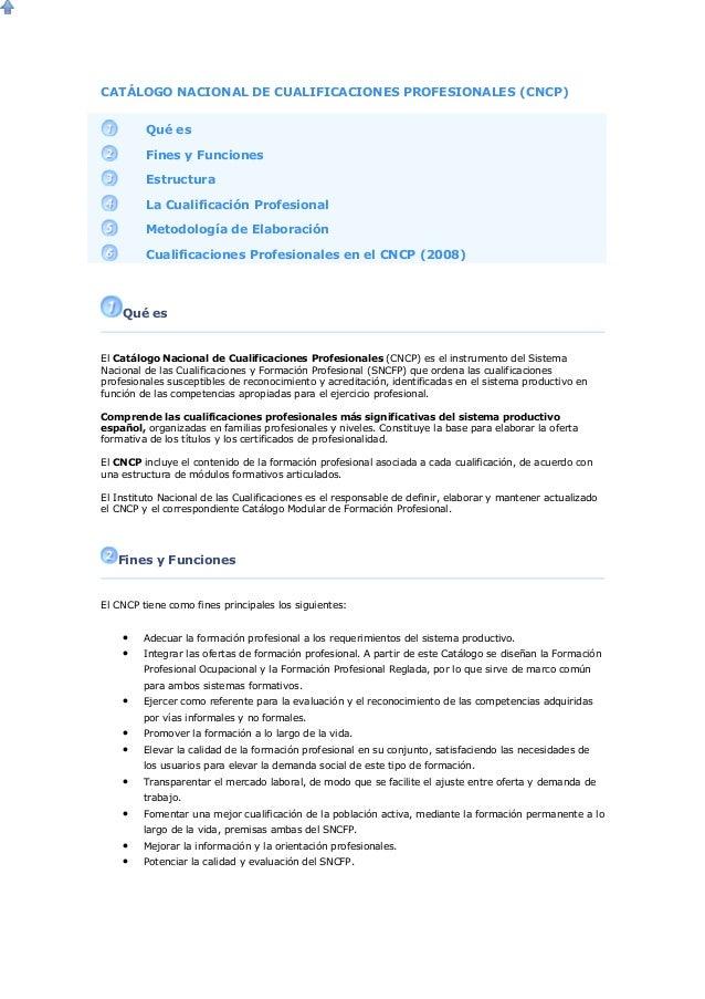 CATÁLOGO NACIONAL DE CUALIFICACIONES PROFESIONALES (CNCP) Qué es Fines y Funciones Estructura La Cualificación Profesional...