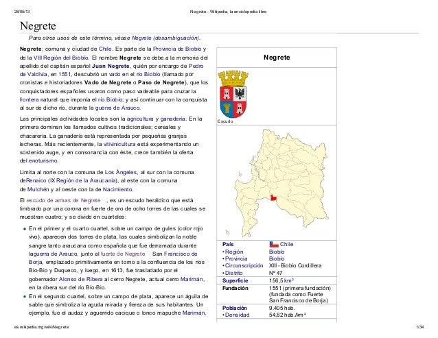 28/05/13 Negrete - Wikipedia, la enciclopedia librees.wikipedia.org/wiki/Negrete 1/34NegreteNegreteEscudoPaís Chile• Regió...