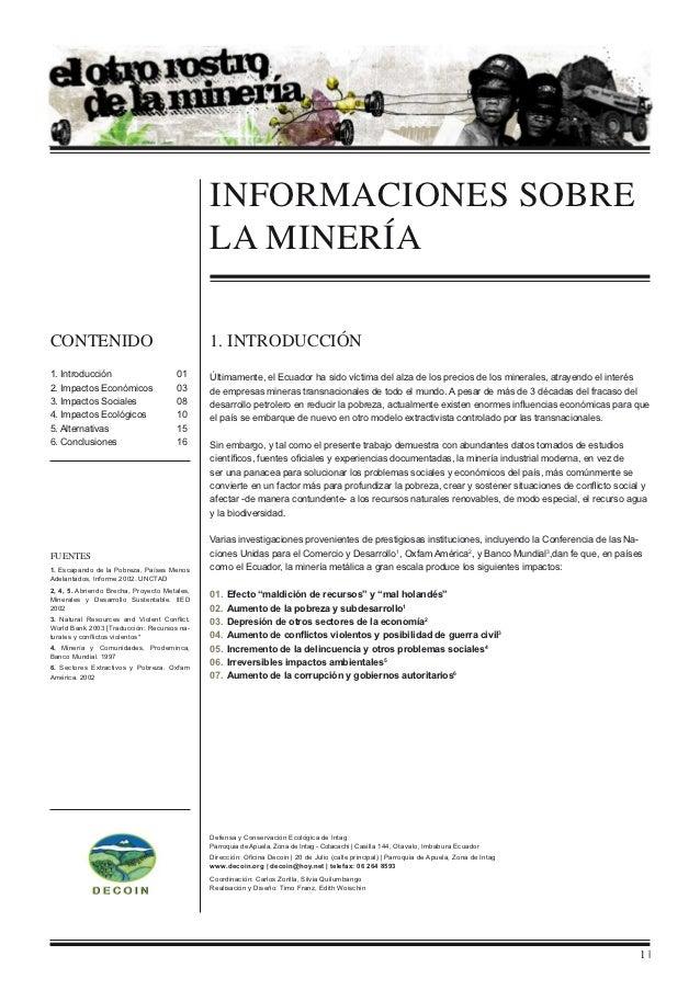 informaciones sobre                                              la MINERÍAContenido                                     1...