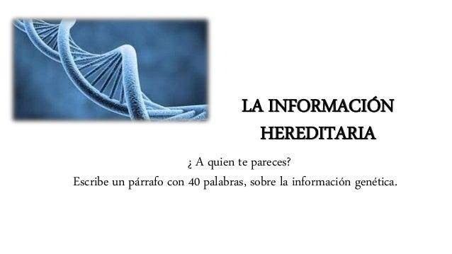 LA INFORMACIÓN HEREDITARIA ¿ A quien te pareces? Escribe un párrafo con 40 palabras, sobre la información genética.