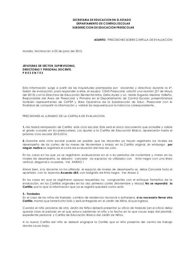 SECRETARIA DE EDUCACION EN EL ESTADODEPARTAMENTO DE CONTROL ESCOLARSUBDIRECCION DE EDUCACION PREESCOLARASUNTO: PRECISIONES...