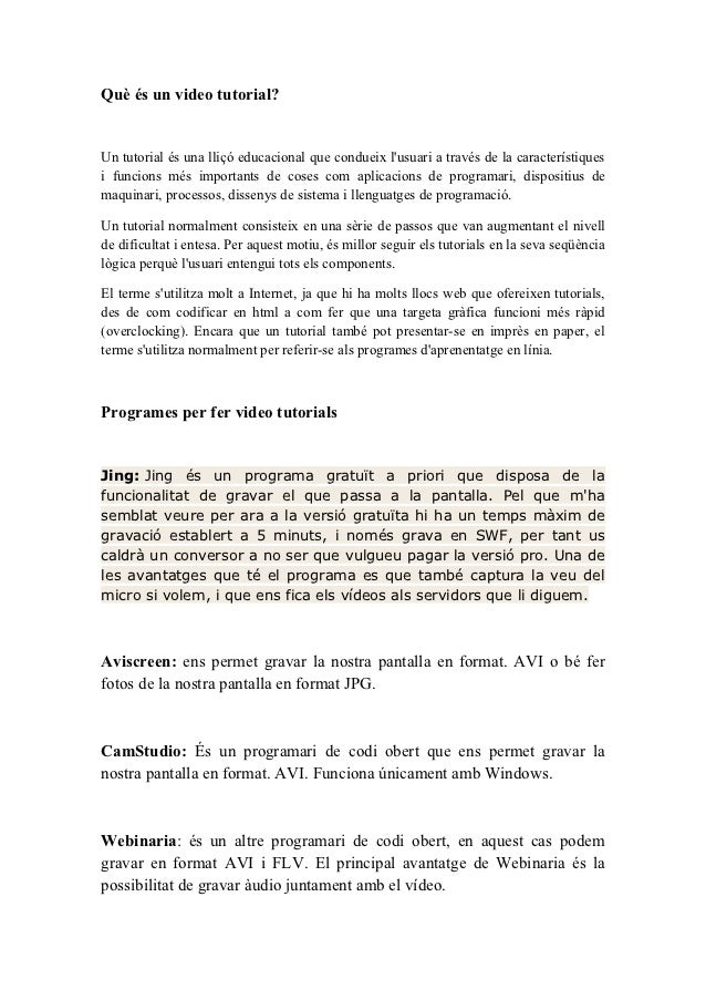 Informació videotutorials (Martí Caro)