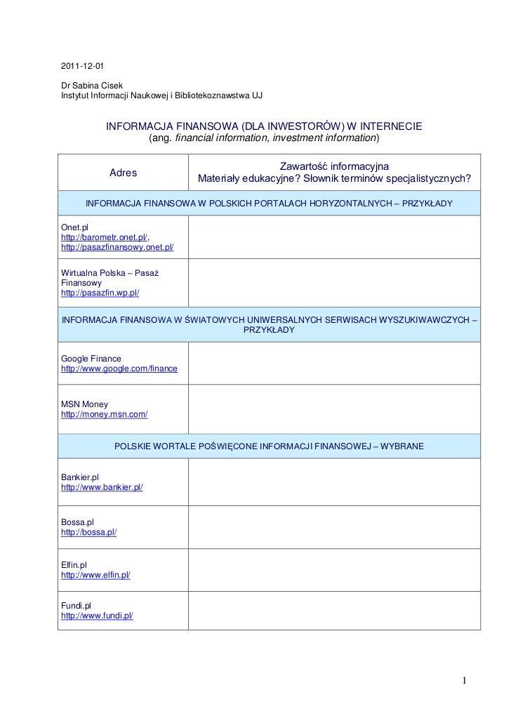 Informacja finansowa w Internecie (dokument zaktualizowany)