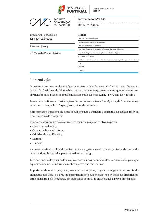Informação n.º 23.13                                          Data: 2012.12.19Prova Final de Ciclo de                    P...