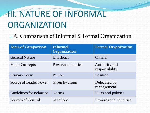 the effects of formal and informal power within an organization And how the informal and formal power structures affect the leadership and power in the organization effects on leadership and power leaders depend on their ability to work with people to maintain their leadership therefore, it is imperative to understand that formal and informal power structures work simultaneously.