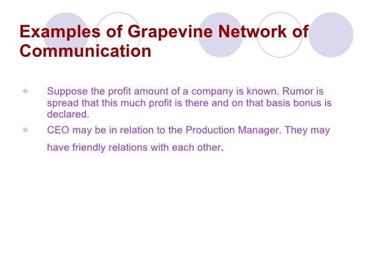 grapevine communication From its definition, grapevine communication is a form of informal communication that is usually based on rumours it's a form of communication that's bound to exist in an organization, and it is a self-proven fact that whatsoever be the effect of grapevine on the organization, management cannot do away with it.