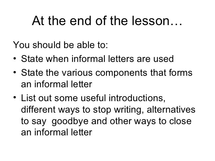 how to write an informal letter to your parents