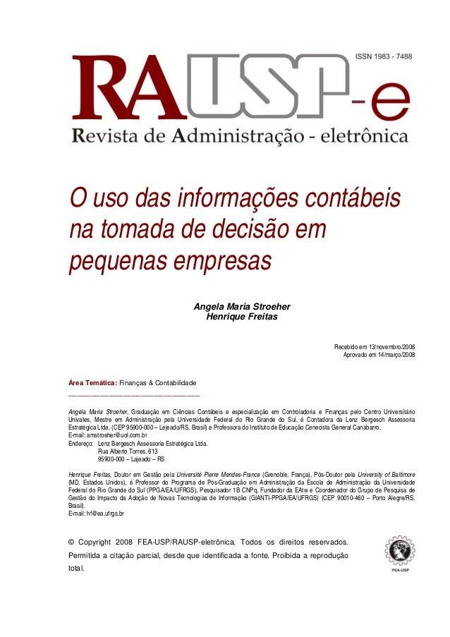 O uso das informações contábeisna tomada de decisão empequenas empresas                                               Ange...
