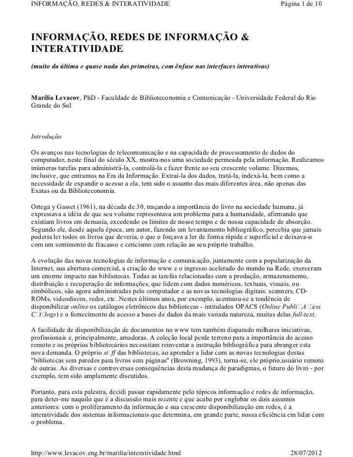 INFORMAÇÃO, REDES & INTERATIVIDADE                                                       Página 1 de 10INFORMAÇÃO, REDES D...