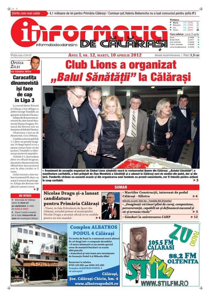 CMYK Știrile cele mai calde                4,1 milioane de lei pentru Primăria Călărași / Comisar-șef, Valeriu Bebereche n...