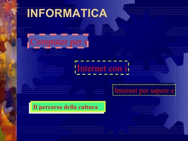 Computer per uso personale Internet con i ragazzi INFORMATICA Internet per sapere e comunicare Il percorso della cultura