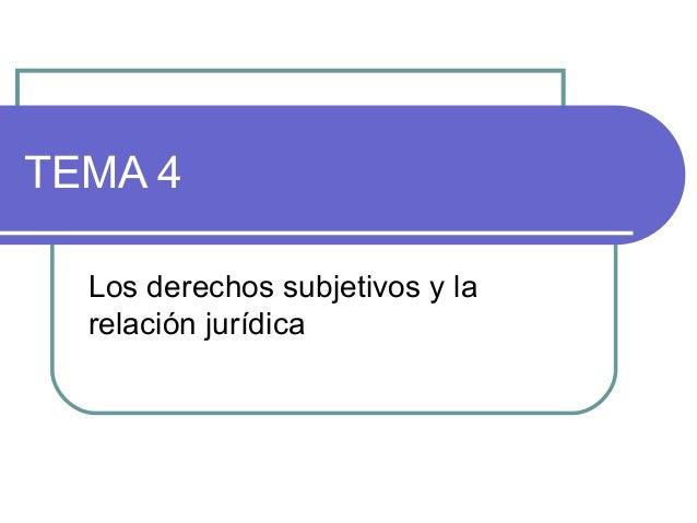 TEMA 4 Los derechos subjetivos y la relación jurídica
