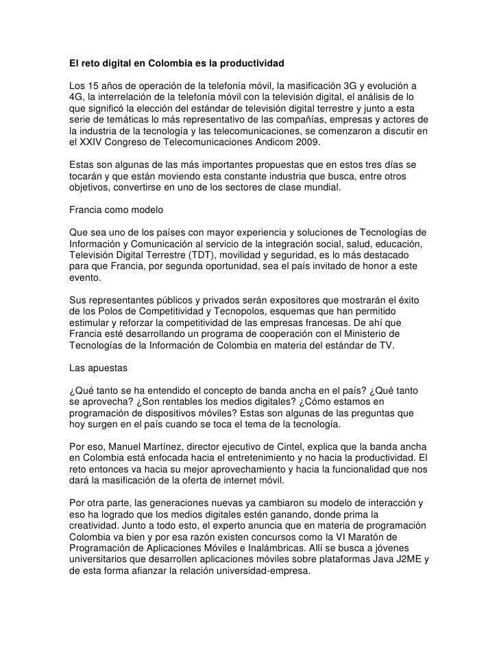 El reto digital en Colombia es la productividad<br />Los 15 años de operación de la telefonía móvil, la masificación 3G y ...