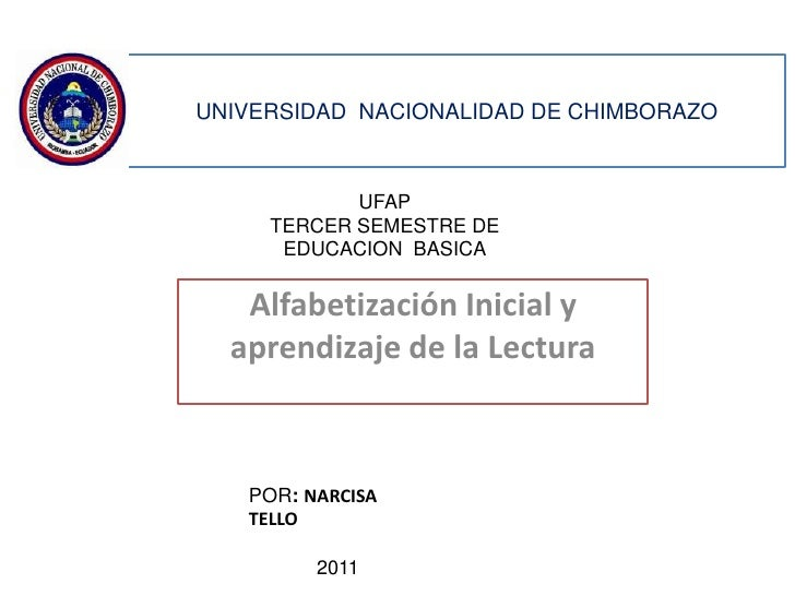 UNIVERSIDAD NACIONALIDAD DE CHIMBORAZO            UFAP     TERCER SEMESTRE DE      EDUCACION BASICA   Alfabetización Inici...