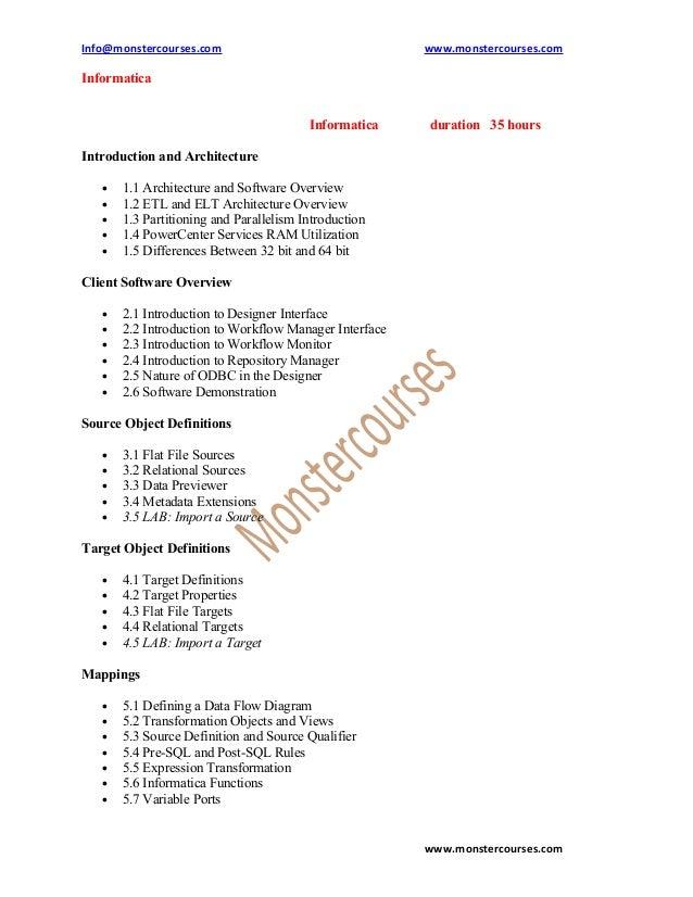 Informatica online training , powercenter online training @ monstercourses