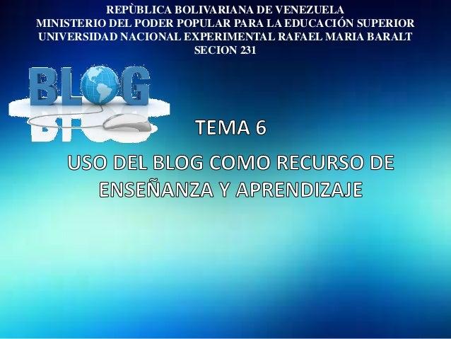 REPÙBLICA BOLIVARIANA DE VENEZUELAMINISTERIO DEL PODER POPULAR PARA LA EDUCACIÓN SUPERIORUNIVERSIDAD NACIONAL EXPERIMENTAL...