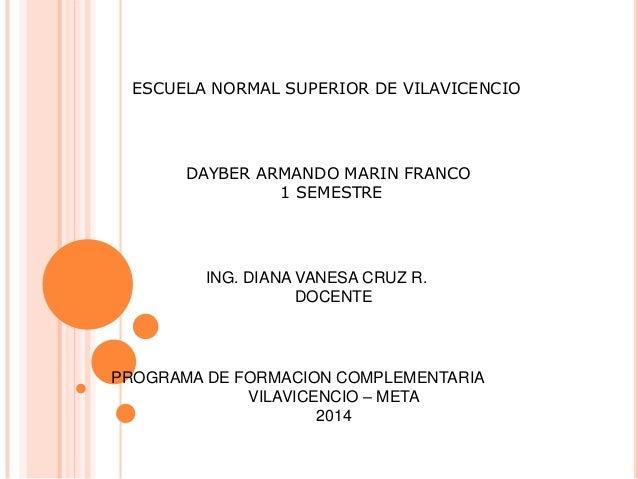 ESCUELA NORMAL SUPERIOR DE VILAVICENCIO DAYBER ARMANDO MARIN FRANCO 1 SEMESTRE ING. DIANA VANESA CRUZ R. DOCENTE PROGRAMA ...