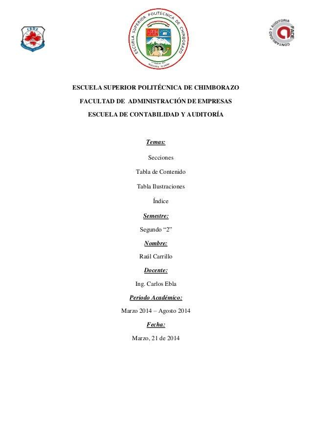 ESCUELA SUPERIOR POLITÉCNICA DE CHIMBORAZO FACULTAD DE ADMINISTRACIÓN DE EMPRESAS ESCUELA DE CONTABILIDAD Y AUDITORÍA Tema...