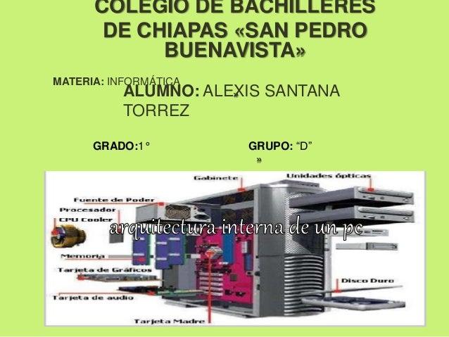 COLEGIO DE BACHILLERES DE CHIAPAS «SAN PEDRO BUENAVISTA» MATERIA: INFORMÁTICA »ALUMNO: ALEXIS SANTANA TORREZ GRADO:1° GRUP...