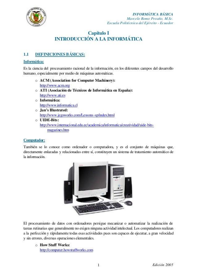 INFORMÁTICA BÁSICA                                                                    Marcelo Romo Proaño, M.Sc.          ...