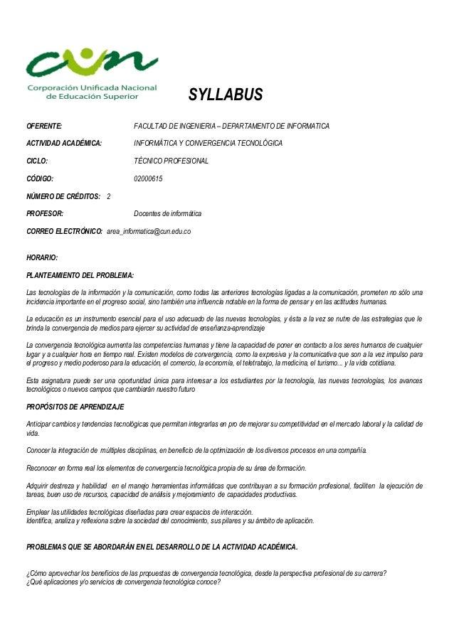 SYLLABUSOFERENTE:                               FACULTAD DE INGENIERIA – DEPARTAMENTO DE INFORMATICAACTIVIDAD ACADÉMICA:  ...