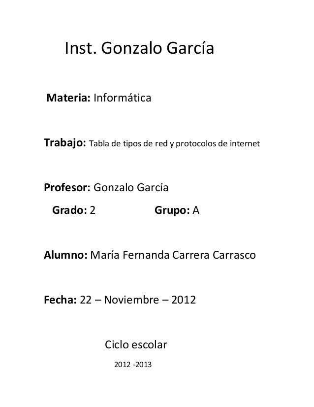 Inst. Gonzalo GarcíaMateria: InformáticaTrabajo: Tabla de tipos de red y protocolos de internetProfesor: Gonzalo García  G...