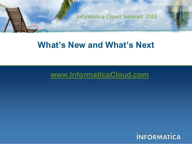 Introducing Informatica Cloud Summer 2013