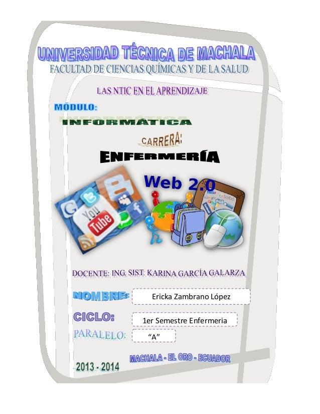 """Ericka Zambrano López 1er Semestre Enfermeria """"A"""""""
