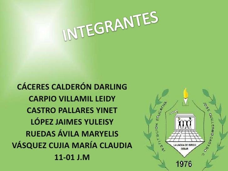 CÁCERES CALDERÓN DARLING    CARPIO VILLAMIL LEIDY   CASTRO PALLARES YINET    LÓPEZ JAIMES YULEISY   RUEDAS ÁVILA MARYELISV...