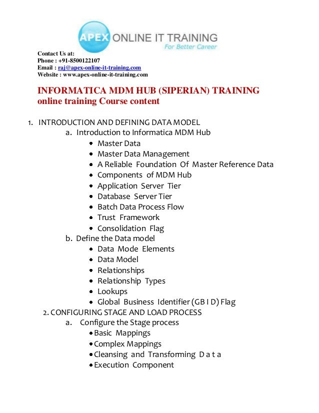 INFORMATICA MDM ONLINE TRAINING BY HANDS ON EMPLOYERS