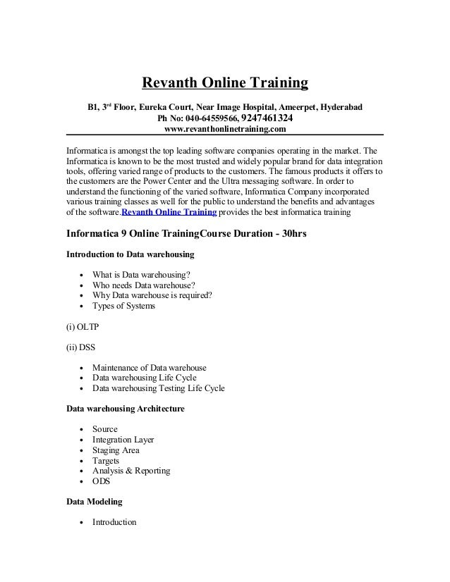 Revanth Online Training       B1, 3rd Floor, Eureka Court, Near Image Hospital, Ameerpet, Hyderabad                       ...