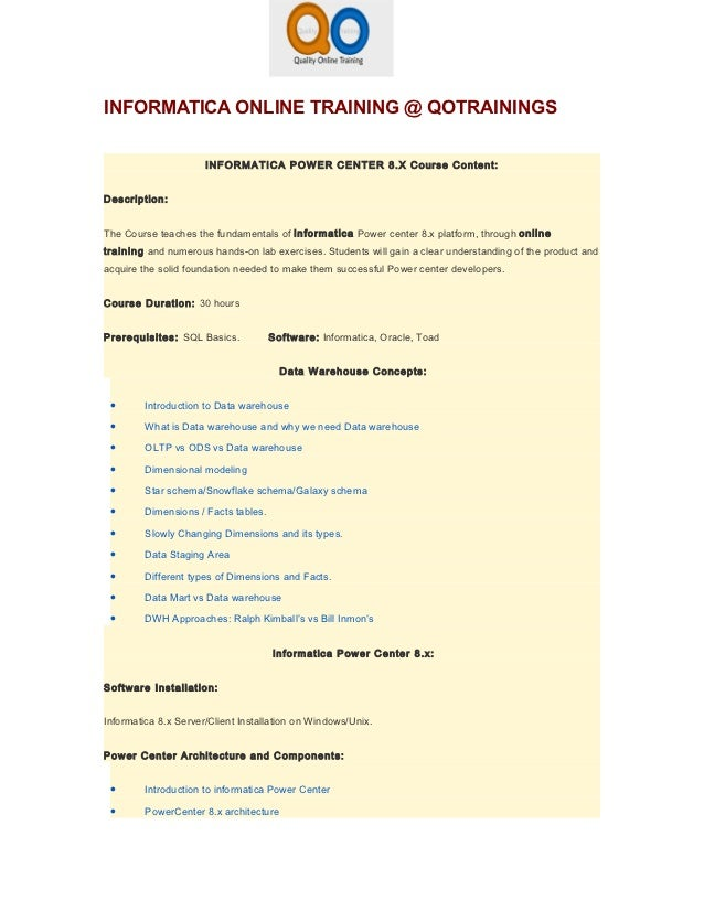 Informatica online training from inida