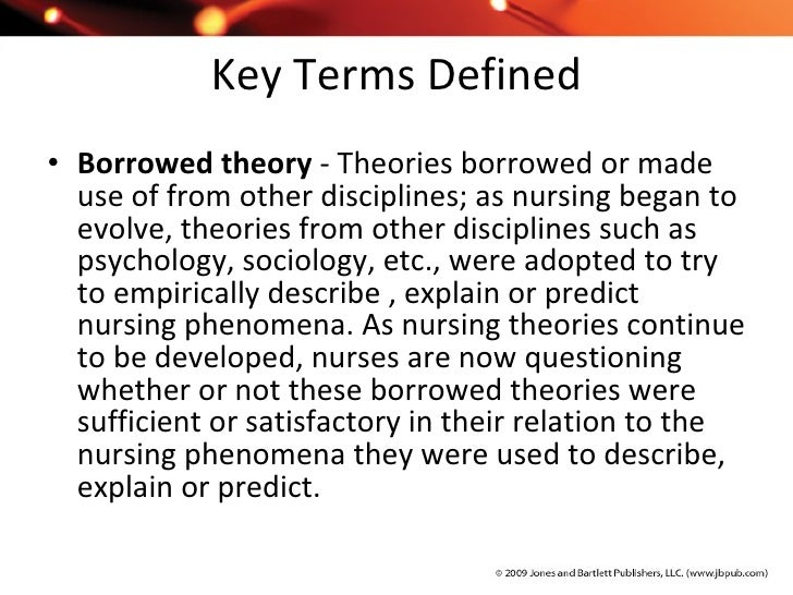 borrowed theories used in nursing An example of borrowed theory: empathy and the kohut's model of self-psychology it is clear from a review of the literature that empathy is an important concept for nurses em- pathy has been most commonly used in nursing as a borrowed theory from psychology, but increasing attention has been.