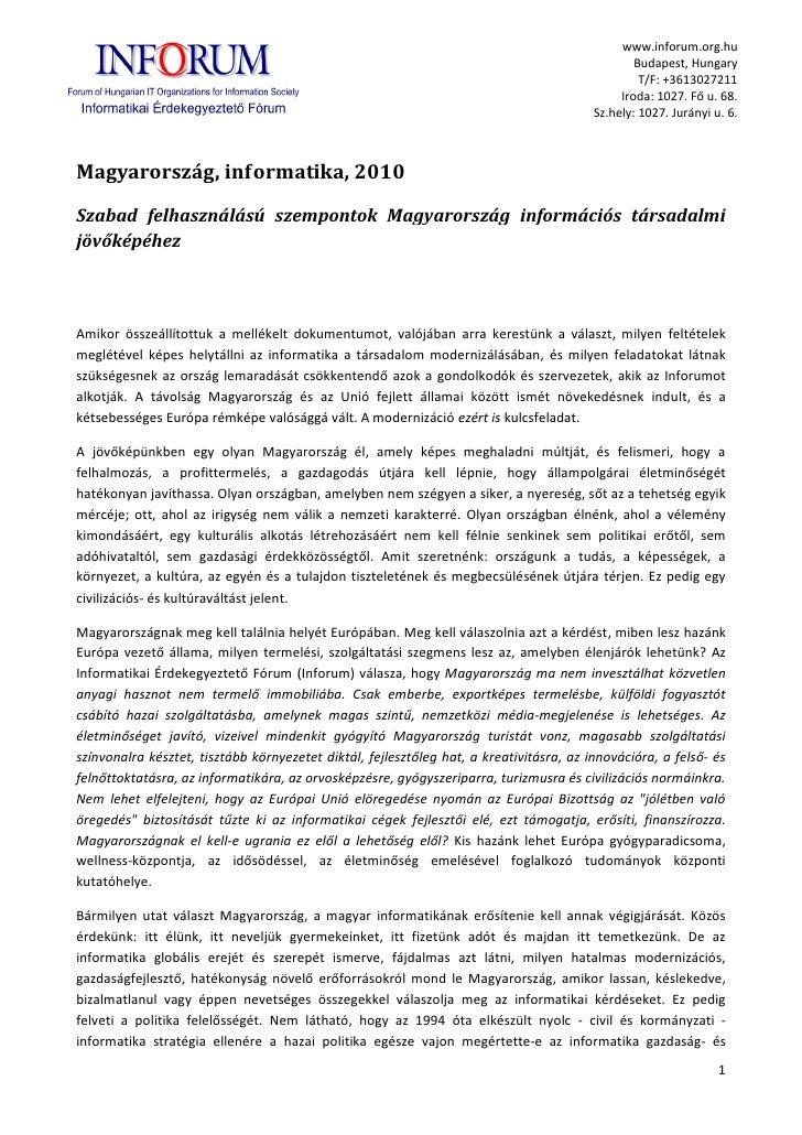 Informatika és Magyarország 2010