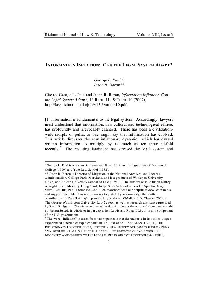 Richmond Journal of Law & Technology                             Volume XIII, Issue 3     INFORMATION INFLATION: CAN THE L...