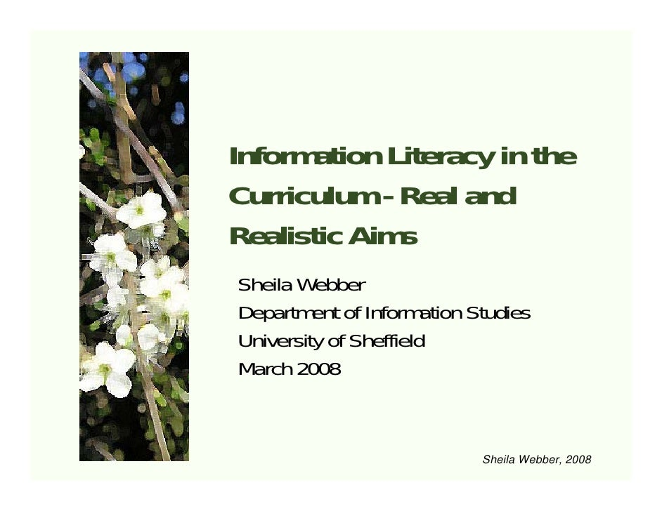 Information Literacy in the Curriculum - Real and Realistic Aims Sheila Webber Department of Information Studies Universit...