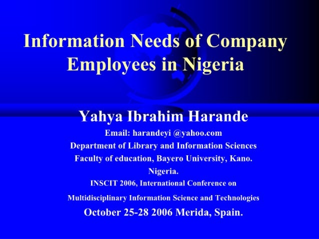 Information Needs of Company Employees in Nigeria