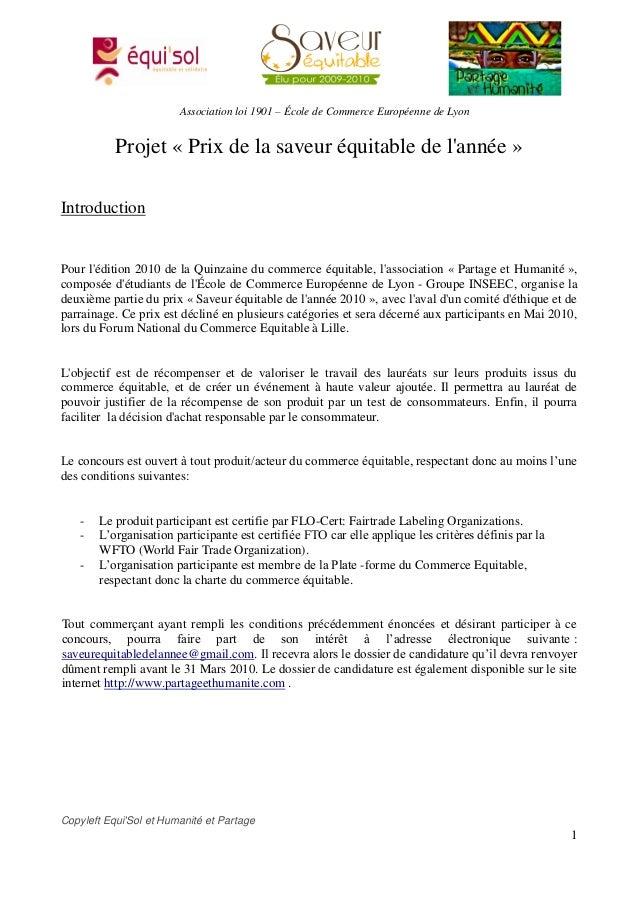 Association loi 1901 – École de Commerce Européenne de Lyon           Projet « Prix de la saveur équitable de lannée »Intr...
