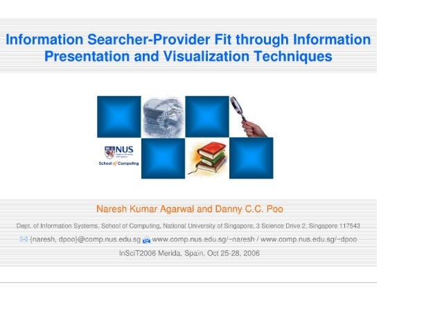 Information Searcher-Provider Fit through Information Presentation and Visualization Techniques