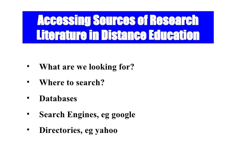 Information Sources in Distance Education